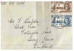 (555) Ceylon (Sri Lanka) To UK FDC Cover - 1946 - Ceylon (...-1947)