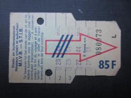 TICKET TRAM (M1518) STIB - MIVB Bruxelles (2 vues) Ticket 5 voyages 85 franc belge n� 080973  s�rie L couleur vert clair
