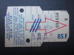 TICKET TRAM (M1518) STIB - MIVB Bruxelles (2 vues) Ticket 5 voyages 85 franc belge n� 091650  s�rie E couleur vert clair