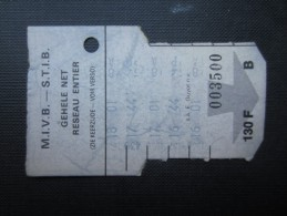 TICKET TRAM (M1518) STIB - MIVB Bruxelles (2 vues) Ticket 5 voyages 85 franc belge n� 003500 s�rie B couleur blanc