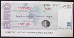 BILLET 50 EURO  AMERICAN EXPRESS TRAVELERS CHEQUE SPECIMEN - Specimen