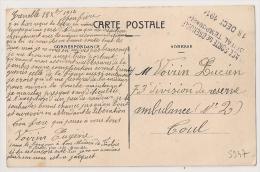 Place Forte De GRENOBLE, Isère, Hopital Temporaire Sur CP En Franchise. CP 4 - Marcophilie (Lettres)