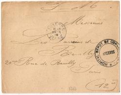 DEPOT DES CONVALESCENTS , AUXERRE, YONNE Sur Enveloppe En FM. - Marcophilie (Lettres)