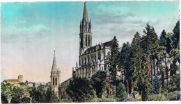 Cpsm LOURDES PROFIL DE LA BASILIQUE ET CHATEAU FORT - Lourdes