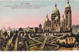 Cpa PARIS La Basilique Du Sacre Coeur Avec L Escalier Monumentale - Kerken