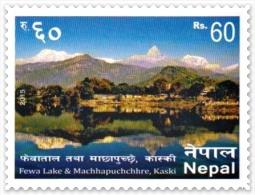 MT.MACHHAPUCHCHRE FEWA LAKE Rs.60 SELF-ADHESIVE STAMP NEPAL 2015 MINT MNH