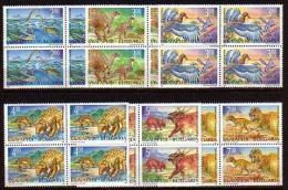 BULGARIA 1994 FAUNA Prehistoric Animals DINOSAURS - Blocks Of 4 MNH - Unused Stamps