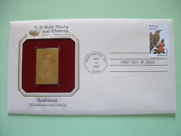 USA 1984 U.S. State Birds And Flowers - FDC Golden Replica - Alabama Yellowhammer Camellia - United States