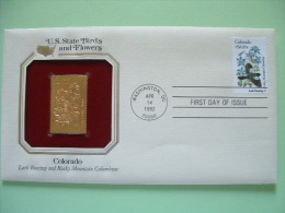 USA 1984 U.S. State Birds And Flowers - FDC Golden Replica - Colorado Lark Bunting Columbine - Stati Uniti