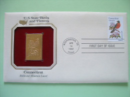 USA 1984 U.S. State Birds And Flowers - FDC Golden Replica - Connecticut Robin Laurel - United States