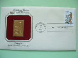 USA 1984 U.S. State Birds And Flowers - FDC Golden Replica - Georgia Thrasher Rose - Lettres & Documents