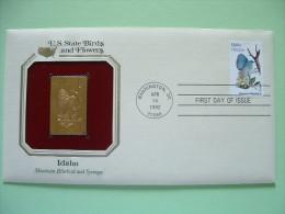 USA 1984 U.S. State Birds And Flowers - FDC Golden Replica - Idaho Bluebird Syringa - Lettres & Documents