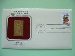 USA 1984 U.S. State Birds And Flowers - FDC Golden Replica - Illinois Cardinal Violet - Stati Uniti