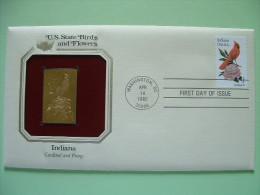 USA 1984 U.S. State Birds And Flowers - FDC Golden Replica - Indiana Cardinal Peony - Stati Uniti