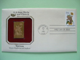 USA 1984 U.S. State Birds And Flowers - FDC Golden Replica - Kansas Meadowlark Sunflower - Etats-Unis