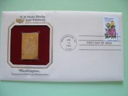 USA 1984 U.S. State Birds And Flowers - FDC Golden Replica - Washington Goldfinch Rhododendron - Etats-Unis
