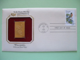 USA 1984 U.S. State Birds And Flowers - FDC Golden Replica - Wisconsin Robin Violet - Lettres & Documents