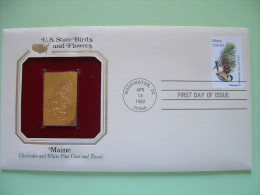 USA 1984 U.S. State Birds And Flowers - FDC Golden Replica - Maine Pine Chickadee - Etats-Unis