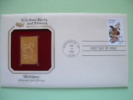 USA 1984 U.S. State Birds And Flowers - FDC Golden Replica - Michigan Robin Apple - Etats-Unis