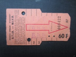 TICKET TRAM (M1518) STIB - MIVB Bruxelles (2 vues) Ticket 5 voyages 60 franc belge n� 008422 s�rie R7 couleur rose