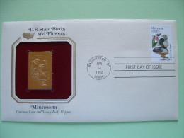 USA 1984 U.S. State Birds And Flowers - FDC Golden Replica - Minnesota Loon Showy Lady Slipper - Etats-Unis