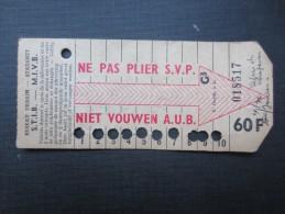 TICKET TRAM (M1518) STIB - MIVB Bruxelles (2 vues) Ticket10 voyages 60 franc belge n� 018517 s�rie G3 couleur gris beige