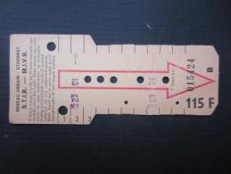 TICKET TRAM (M1518) STIB - MIVB Bruxelles (2 vues) Ticket 10 voyages 115 fr belge n� 015424 s�rie B couleur jaune pale