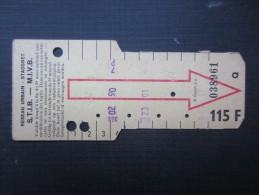TICKET TRAM (M1518) STIB - MIVB Bruxelles (2 vues) Ticket 10 voyages 115 fr belge n� 038961 s�rie Q couleur jaune pale