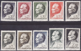 Yugoslavia 1968. Definitive, Tito, MNH(**) Mi 1280/89 - Neufs