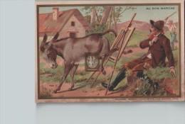 """Chromo """"AU BON MARCHE"""" - Peintre Devant Son Chevalet  Dérangé Par Un âne...  - Scans Recto-verso - Au Bon Marché"""