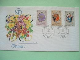 Brunei 1981 FDC Royal Wedding Charles & Diana - Flowers - Uniform - Brunei (1984-...)