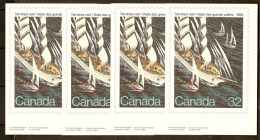 Quebec 1984 - Tall Sail Ships Visit - Les Grands Voiliers - Card Picturing Canada Post Stamp X 4 - Québec - Les Rivières