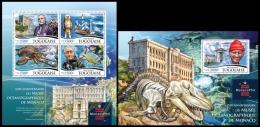 tg15307ab Togo 2015 105th anniversary of the Oceanographic Museum of Monaco 2 s/s Dinosaur
