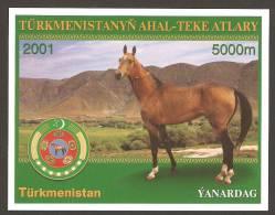Turkmenistan (2001). Yv. Bf. 32  /   Horses - Cheval - Caballos - Pferde - Cavalli