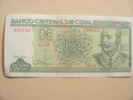 """BANQUE DE CUBA. """" BILLET DE 5 PESOS.""""  LOT DE 3 BILLETS."""