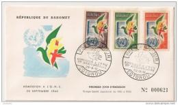 Timbre - Afrique - Bénin - Dahomey - PREMIER JOUR - N° 000621 - Admission à L´ONU -COTONOU - 1961 - - Bénin – Dahomey (1960-...)