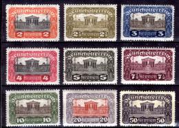 Austria-F-0032 -1919 - Valori della serie, Unificato: n.214A/222A (+) TLH - Privi di difetti occulti.