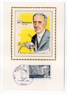 1970--Carte Maximum-Soie---Maurice De BROGLIE (rayons X) Signée  Chesnot---cachet  PARIS--75 - Cartes-Maximum
