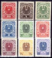 Austria-F-0033 -1920/1921 - Valori della serie, Unificato: n.223A/231A (+) TLH - Privi di difetti occulti.