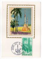 1970--Carte Maximum-Soie--Lancement Fusée Diamant -Kourou-(Espace) Signée  Chesnot---cachet KOUROU-Guyane - Cartes-Maximum