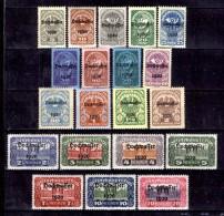 Austria-F-0034 - 1921 - Valori della serie, Unificato: n.232/251 (+) TLH - Privi di difetti occulti.