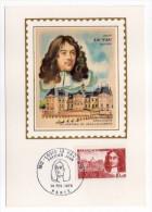 1970--Carte Maximum-Soie--Louis LE VAU-Architecte Chateau Vaux Le Vicomte-77--cachet PARIS - 75 - Cartes-Maximum