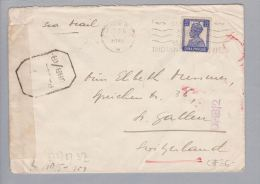 Pakistan Karachi 1942-12-18 Zensur Air Mail Nach St.Gallen - Pakistan
