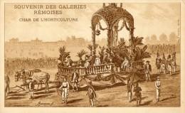 SOUVENIR DES GALERIES REMOISES. CHAR DE LHORTICULTURE PUB AU DOS   ( LOT V1 ) - Reims