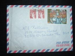 LETTRE PAR AVION POUR USA TARIF 2,20F OBL.MEC.28-5-1979 LAON CENTRALISATEUR (02) + CACHET MANUEL - Postmark Collection (Covers)