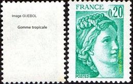France Sabine De Gandon N° 1967 B ** Le 0.20 Fr. émeraude - Variété Gomme Tropicale - 1977-81 Sabine (Gandon)