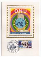1970--Carte Maximum-Soie-ONU-Paix Et Progrès--signée Chesnot---cachet  PARIS--75 - Cartes-Maximum