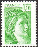 France Sabine De Gandon N° 2058 ** Le 1f.10  Vert - 1977-81 Sabine (Gandon)