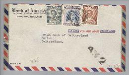 Thailand Siam 1952-12-02 Bangkok Airmail Nach Zürich Mit A.V.2 Schwarz - Thaïlande