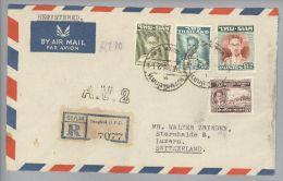 Thailand Siam 1952-02-03 Bangkok Airmail Nach Luzern CH Mit A.V.2 Schwarz - Thaïlande